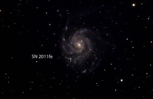 SN 2011fe in M101, TMB 105/6,2,  5 Aufnahmen a 240 sec. bei ISO 800